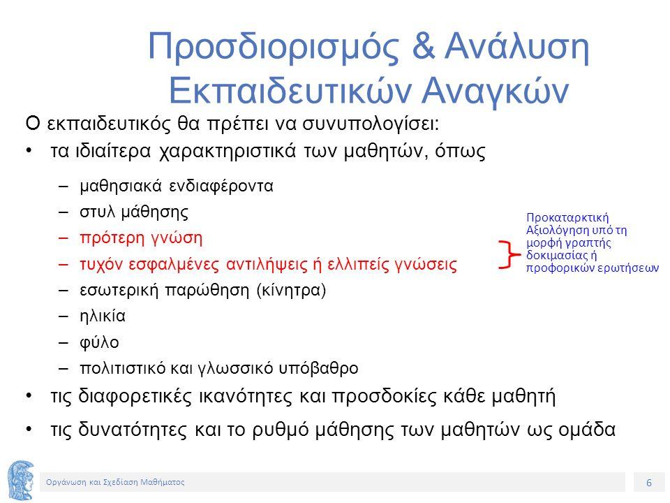 Ενδεικτικά ρήματα για τη διατύπωση Στόχων Διδασκαλίας Στόχοι που αφορούν γνώσεις Στόχοι που αφορούν δεξιότητες Στόχοι που αφορούν στάσεις Αναγνωρίζω, απαριθμώ, αντιπαραθέτω, διαχωρίζω, επιλέγω, εξηγώ, κατατάσσω, κατηγοριοποιώ, κατονομάζω, περιγράφω, προσδιορίζω, συγκρίνω, συσχετίζω, ταξινομώ, συντάσσω Αποδεικνύω, επιλύω διορθώνω, εφαρμόζω, ελέγχω, θέτω, επαληθεύω, επεξηγώ, σχεδιάζω, συμπληρώνω, χρησιμοποιώ, επιλέγω, οργανώνω, επιδεικνύω Αμφισβητώ, εφαρμόζω, αποδέχομαι, παροτρύνω, απορρίπτω, προτιμώ, υιοθετώ, υποκινώ, υποστηρίζω, ενθαρρύνω, εκτιμώ, διερωτώμαι, αρνούμαι Συνοψίζοντας