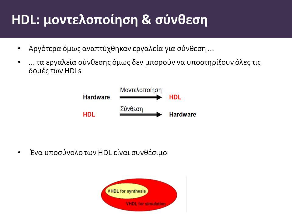 HDL: µοντελοποίηση & σύνθεση Αργότερα όµως αναπτύχθηκαν εργαλεία για σύνθεση......