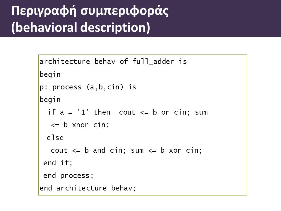 architecture behav of full_adder is begin p: process (a,b,cin) is begin if a = 1 then cout <= b or cin; sum <= b xnor cin; else cout <= b and cin; sum <= b xor cin; end if; end process; end architecture behav; Περιγραφή συµπεριφοράς (behavioral description)