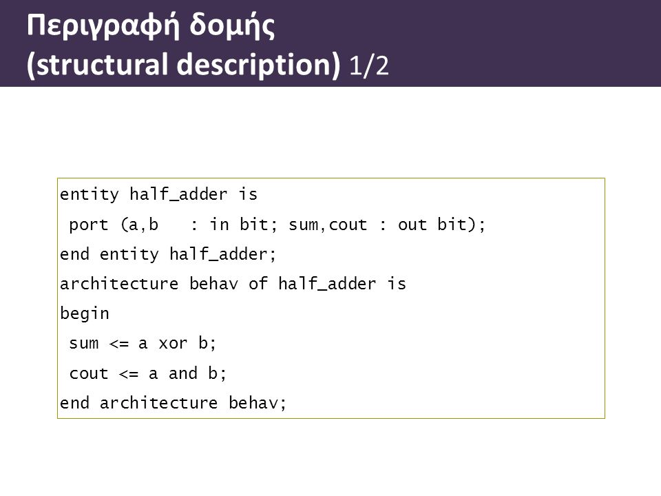 entity half_adder is port (a,b: in bit; sum,cout : out bit); end entity half_adder; architecture behav of half_adder is begin sum <= a xor b; cout <=