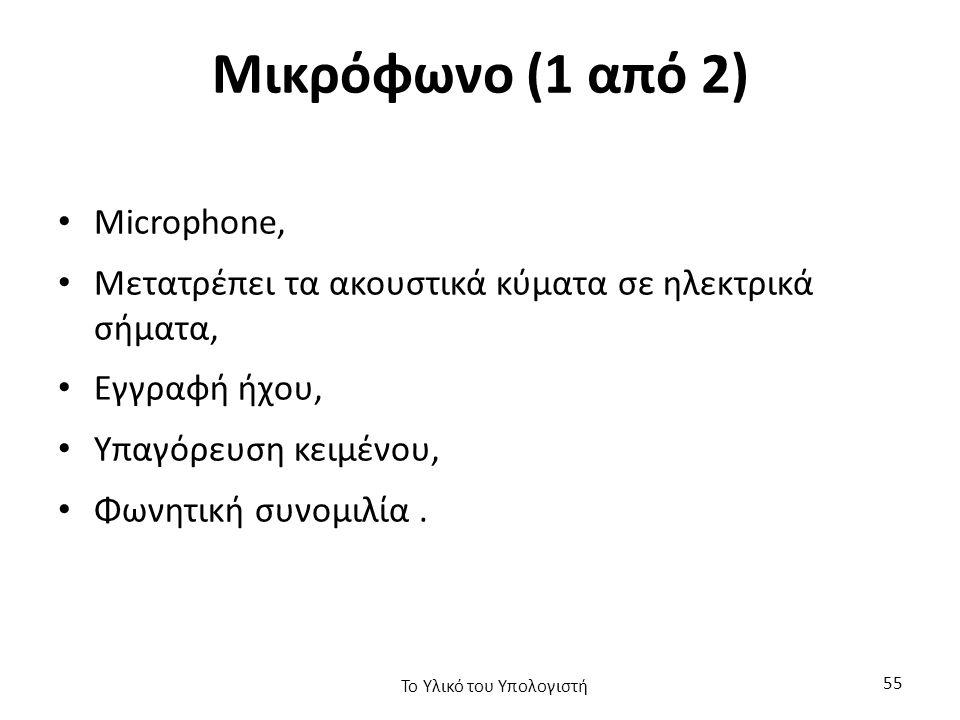 Μικρόφωνο (1 από 2) Microphone, Μετατρέπει τα ακουστικά κύματα σε ηλεκτρικά σήματα, Εγγραφή ήχου, Υπαγόρευση κειμένου, Φωνητική συνομιλία.