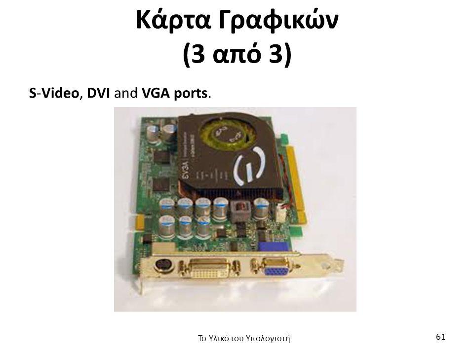 Κάρτα Γραφικών (3 από 3) S-Video, DVI and VGA ports. Το Υλικό του Υπολογιστή 61