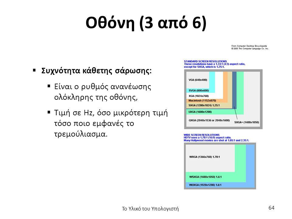 Οθόνη (3 από 6)  Συχνότητα κάθετης σάρωσης:  Είναι ο ρυθμός ανανέωσης ολόκληρης της οθόνης,  Τιμή σε Hz, όσο μικρότερη τιμή τόσο ποιο εμφανές το τρεμούλιασμα.