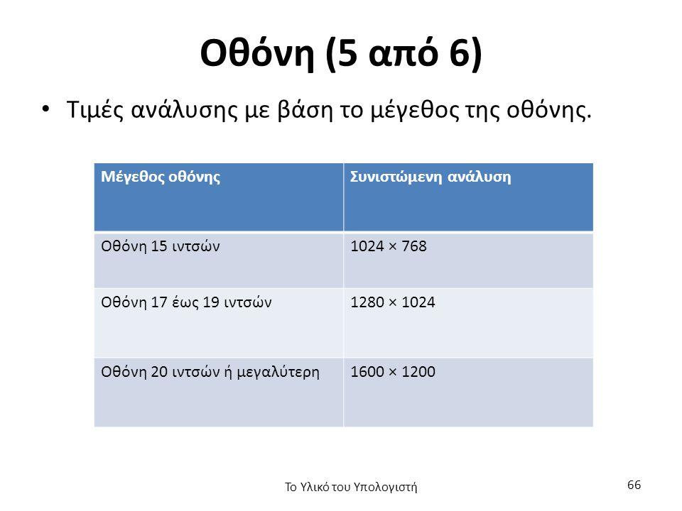 Οθόνη (5 από 6) Τιμές ανάλυσης με βάση το μέγεθος της οθόνης.