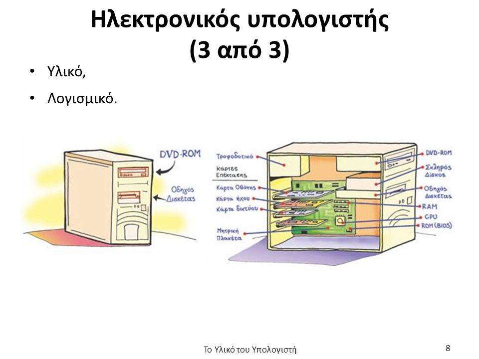 Κάρτα Γραφικών (1 από 3) Η κάρτα γραφικών είναι τμήμα ενός υπολογιστή, το οποίο λαμβάνει ψηφιακά δεδομένα από την Κεντρική Μονάδα Επεξεργασίας (CPU) για να τα μετατρέψει σε εικόνα, η οποία θα προβληθεί στην οθόνη, Τοποθετείται σε θύρα επέκτασης PCI Express ή AGP, Μερικές μητρικές τις έχουν ενσωματωμένες, Διαθέτουν ξεχωριστό επεξεργαστή (graphics processing unit), Δική τους μνήμη τύπου DDR, 256ΜΒ – 4GB, Το Υλικό του Υπολογιστή 59