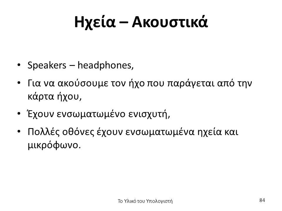 Ηχεία – Ακουστικά Speakers – headphones, Για να ακούσουμε τον ήχο που παράγεται από την κάρτα ήχου, Έχουν ενσωματωμένο ενισχυτή, Πολλές οθόνες έχουν ενσωματωμένα ηχεία και μικρόφωνο.