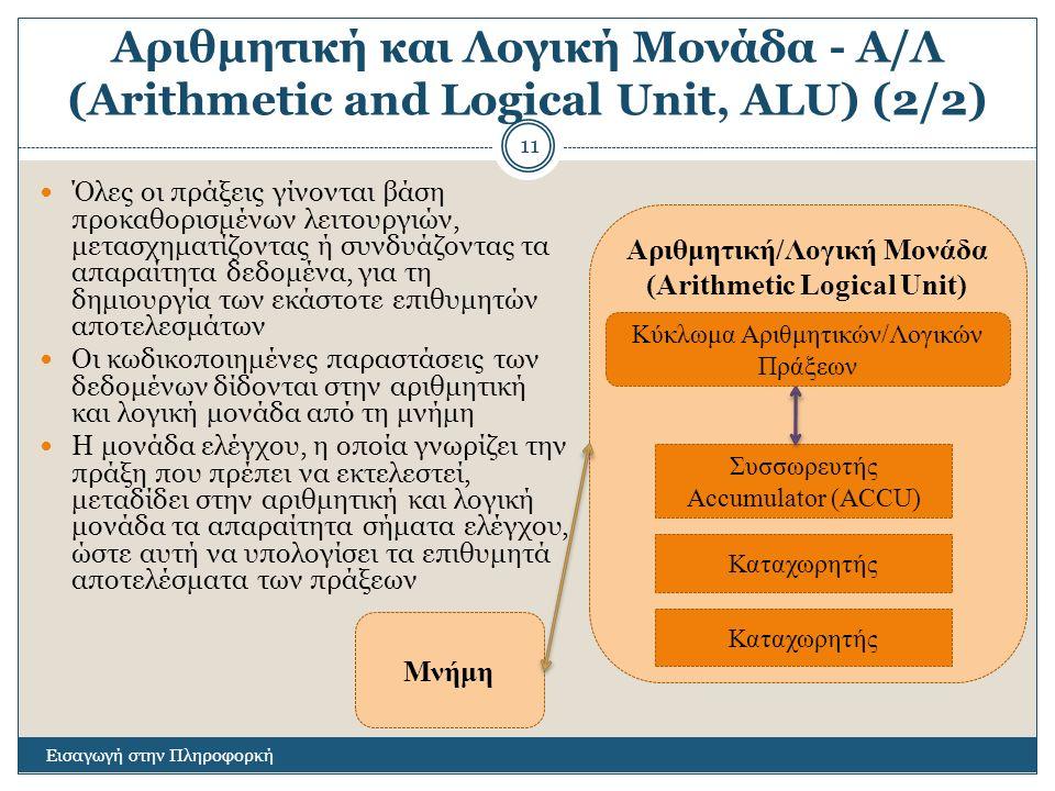 Αριθμητική και Λογική Μονάδα - Α/Λ (Arithmetic and Logical Unit, ALU) (2/2) Εισαγωγή στην Πληροφορκή 11 Όλες οι πράξεις γίνονται βάση προκαθορισμένων λειτουργιών, μετασχηματίζοντας ή συνδυάζοντας τα απαραίτητα δεδομένα, για τη δημιουργία των εκάστοτε επιθυμητών αποτελεσμάτων Οι κωδικοποιημένες παραστάσεις των δεδομένων δίδονται στην αριθμητική και λογική μονάδα από τη μνήμη Η μονάδα ελέγχου, η οποία γνωρίζει την πράξη που πρέπει να εκτελεστεί, μεταδίδει στην αριθμητική και λογική μονάδα τα απαραίτητα σήματα ελέγχου, ώστε αυτή να υπολογίσει τα επιθυμητά αποτελέσματα των πράξεων Αριθμητική/Λογική Μονάδα (Arithmetic Logical Unit) Συσσωρευτής Accumulator (ACCU) Καταχωρητής Μνήμη Καταχωρητής Κύκλωμα Αριθμητικών/Λογικών Πράξεων