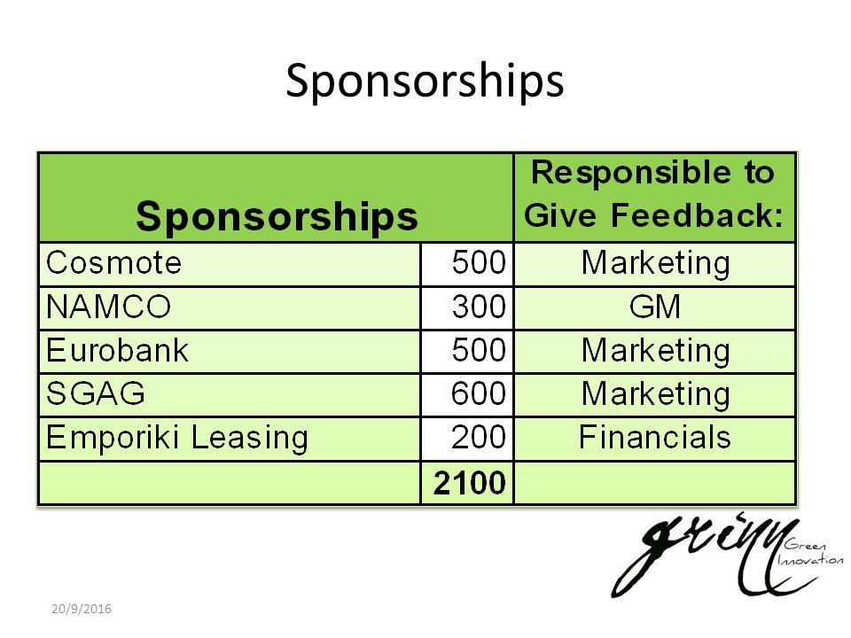 Sponsorships 20/9/2016