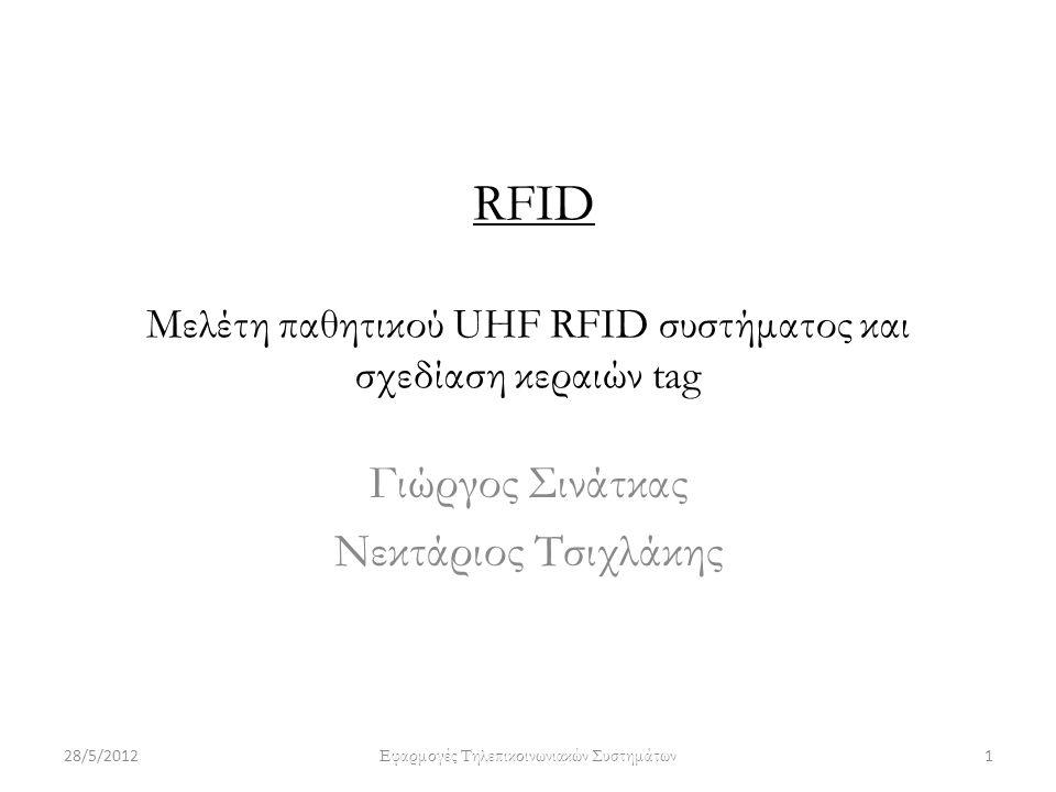 RFID Μελέτη παθητικού UHF RFID συστήματος και σχεδίαση κεραιών tag Γιώργος Σινάτκας Νεκτάριος Τσιχλάκης 28/5/20121 Εφαρμογές Τηλεπικοινωνιακών Συστημάτων