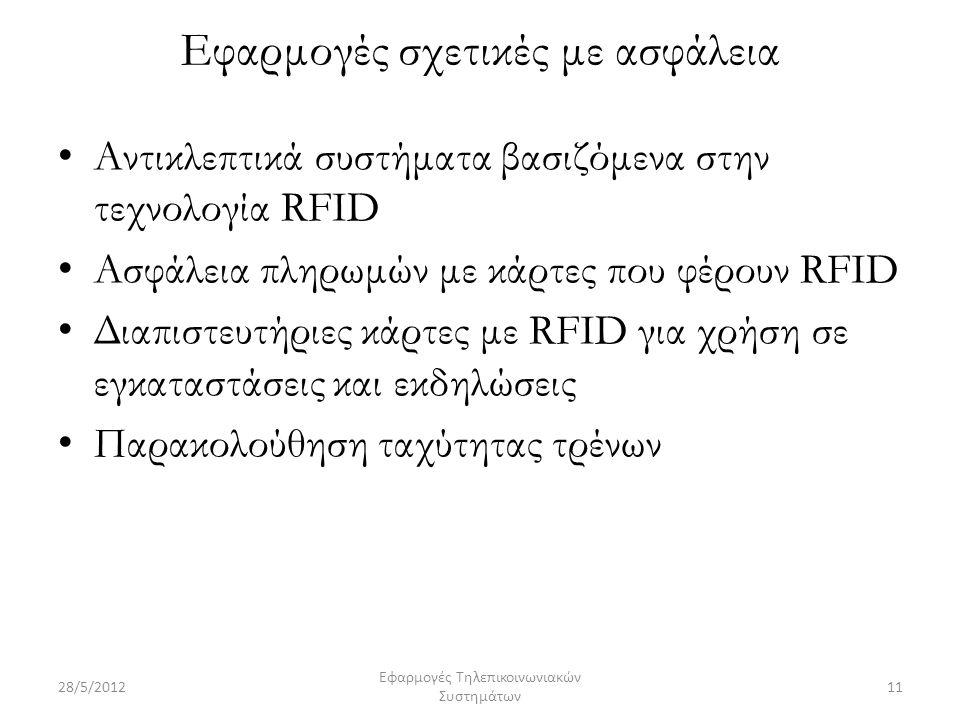 Εφαρμογές σχετικές με ασφάλεια Αντικλεπτικά συστήματα βασιζόμενα στην τεχνολογία RFID Ασφάλεια πληρωμών με κάρτες που φέρουν RFID Διαπιστευτήριες κάρτες με RFID για χρήση σε εγκαταστάσεις και εκδηλώσεις Παρακολούθηση ταχύτητας τρένων 28/5/201211 Εφαρμογές Τηλεπικοινωνιακών Συστημάτων