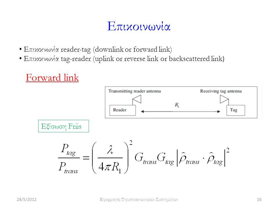 Επικοινωνία 28/5/2012 Εφαρμογές Τηλεπικοινωνιακών Συστημάτων 16 Επικοινωνία reader-tag (downlink or forward link) Επικοινωνία tag-reader (uplink or reverse link or backscattered link ) Forward link Εξίσωση Friis