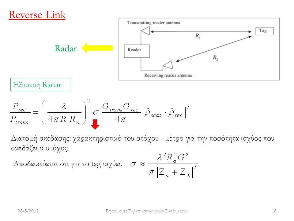 28/5/2012 Εφαρμογές Τηλεπικοινωνιακών Συστημάτων 18 Reverse Link Radar Εξίσωση Radar Διατομή σκέδασης: χαρακτηριστικό του στόχου - μέτρο για την ποσότητα ισχύος που σκεδάζει ο στόχος.
