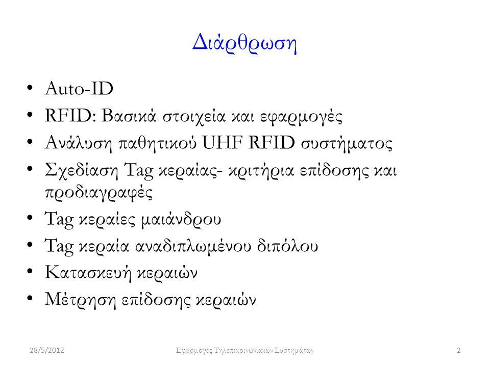 Διάρθρωση Auto-ID RFID: Βασικά στοιχεία και εφαρμογές Ανάλυση παθητικού UHF RFID συστήματος Σχεδίαση Tag κεραίας- κριτήρια επίδοσης και προδιαγραφές Tag κεραίες μαιάνδρου Tag κεραία αναδιπλωμένου διπόλου Κατασκευή κεραιών Μέτρηση επίδοσης κεραιών 28/5/2012 Εφαρμογές Τηλεπικοινωνιακών Συστημάτων 2