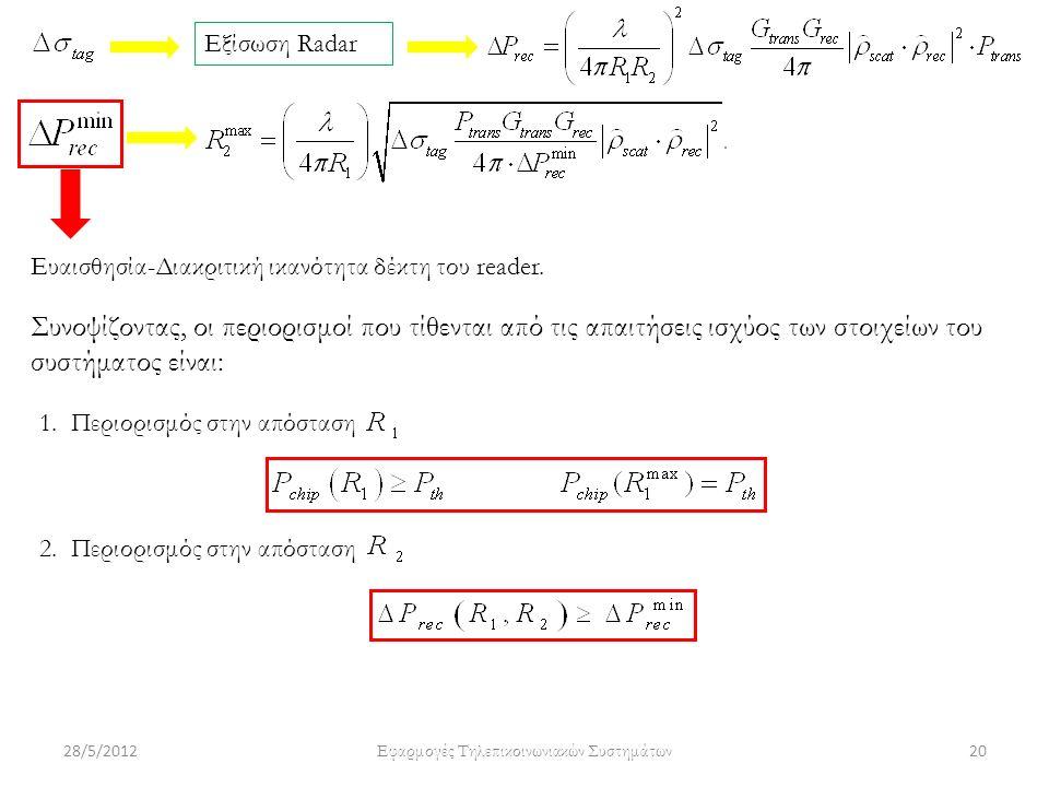 28/5/2012 Εφαρμογές Τηλεπικοινωνιακών Συστημάτων 20 Εξίσωση Radar Ευαισθησία-Διακριτική ικανότητα δέκτη του reader. Συνοψίζοντας, οι περιορισμοί που τ