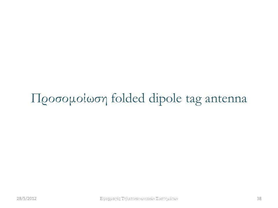 Προσομοίωση folded dipole tag antenna 28/5/201238 Εφαρμογές Τηλεπικοινωνιακών Συστημάτων