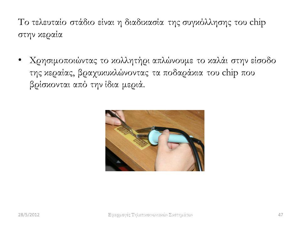Το τελευταίο στάδιο είναι η διαδικασία της συγκόλλησης του chip στην κεραία Χρησιμοποιώντας το κολλητήρι απλώνουμε το καλάι στην είσοδο της κεραίας, β