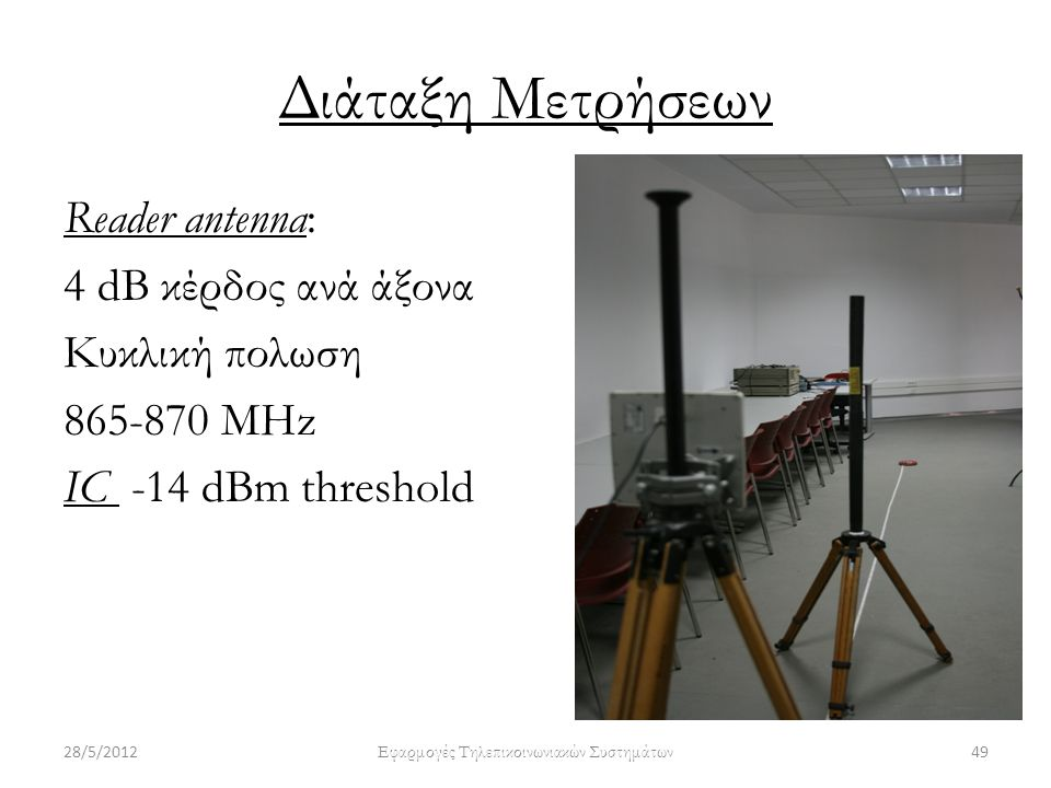 Διάταξη Μετρήσεων Reader antenna: 4 dB κέρδος ανά άξονα Κυκλική πολωση 865-870 ΜΗz IC -14 dBm threshold 28/5/201249 Εφαρμογές Τηλεπικοινωνιακών Συστημ