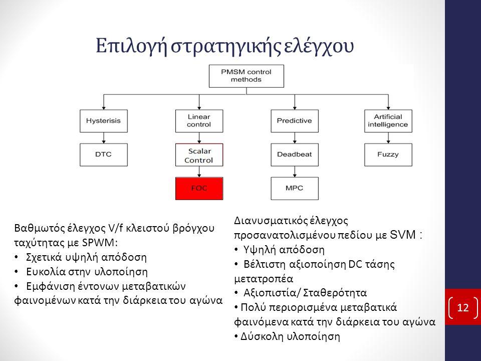 Επιλογή στρατηγικής ελέγχου 12 Βαθμωτός έλεγχος V/f κλειστού βρόγχου ταχύτητας με SPWM: Σχετικά υψηλή απόδοση Ευκολία στην υλοποίηση Εμφάνιση έντονων μεταβατικών φαινομένων κατά την διάρκεια του αγώνα Διανυσματικός έλεγχος προσανατολισμένου πεδίου με SVM : Υψηλή απόδοση Βέλτιστη αξιοποίηση DC τάσης μετατροπέα Αξιοπιστία/ Σταθερότητα Πολύ περιορισμένα μεταβατικά φαινόμενα κατά την διάρκεια του αγώνα Δύσκολη υλοποίηση