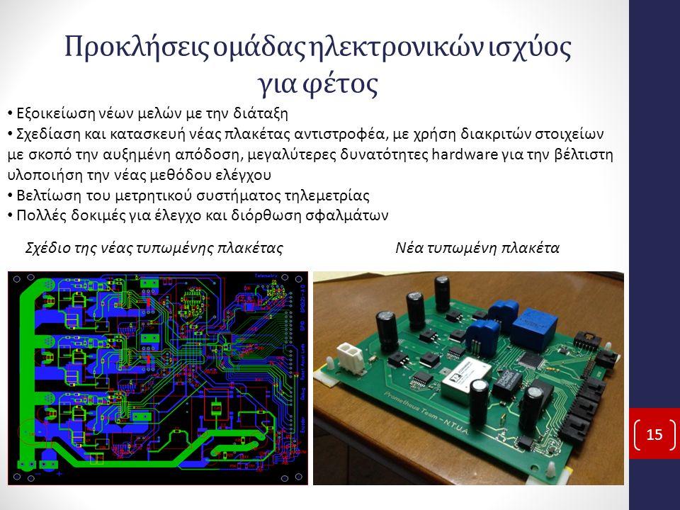 Προκλήσεις ομάδας ηλεκτρονικών ισχύος για φέτος 15 Εξοικείωση νέων μελών με την διάταξη Σχεδίαση και κατασκευή νέας πλακέτας αντιστροφέα, με χρήση διακριτών στοιχείων με σκοπό την αυξημένη απόδοση, μεγαλύτερες δυνατότητες hardware για την βέλτιστη υλοποιήση την νέας μεθόδου ελέγχου Βελτίωση του μετρητικού συστήματος τηλεμετρίας Πολλές δοκιμές για έλεγχο και διόρθωση σφαλμάτων Σχέδιο της νέας τυπωμένης πλακέταςΝέα τυπωμένη πλακέτα