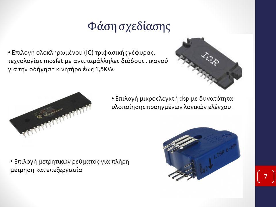 Φάση σχεδίασης 7 Επιλογή ολοκληρωμένου (IC) τριφασικής γέφυρας, τεχνολογίας mosfet με αντιπαράλληλες διόδους, ικανού για την οδήγηση κινητήρα έως 1,5KW.