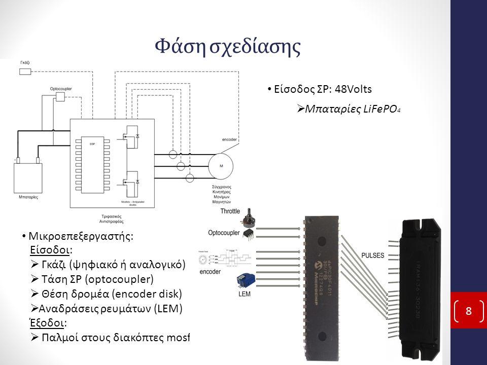 Φάση σχεδίασης 8 Είσοδος ΣΡ: 48Volts  Μπαταρίες LiFePO 4 Μικροεπεξεργαστής: Είσοδοι:  Γκάζι (ψηφιακό ή αναλογικό)  Τάση ΣΡ (optocoupler)  Θέση δρομέα (encoder disk)  Αναδράσεις ρευμάτων (LEM) Έξοδοι:  Παλμοί στους διακόπτες mosfet