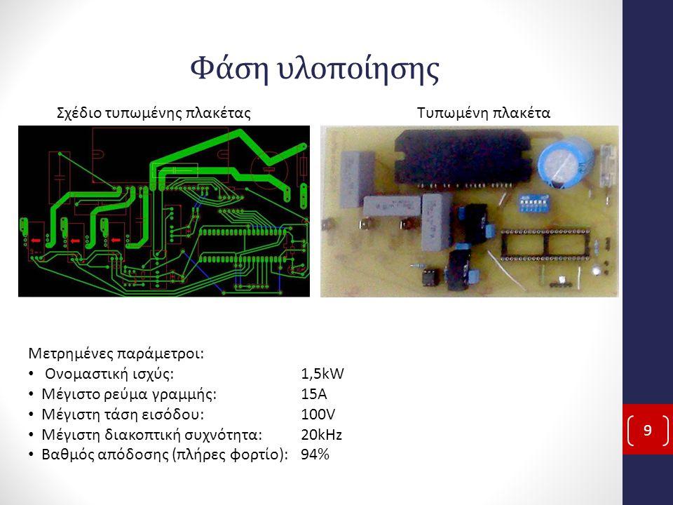 Φάση υλοποίησης 9 Σχέδιο τυπωμένης πλακέταςΤυπωμένη πλακέτα Μετρημένες παράμετροι: Ονομαστική ισχύς: 1,5kW Μέγιστο ρεύμα γραμμής: 15A Μέγιστη τάση εισ