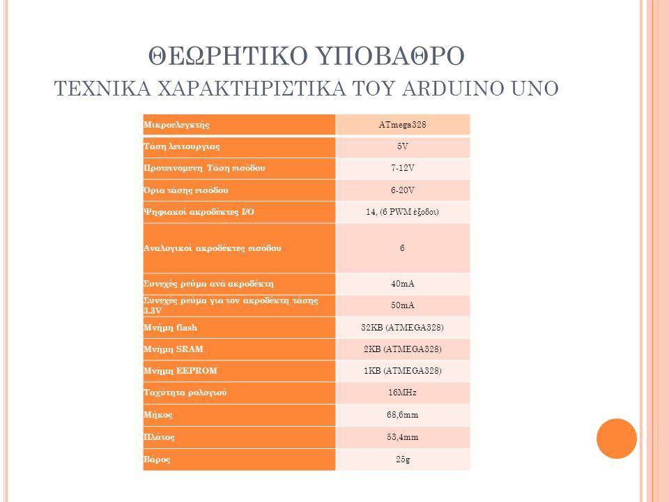 ΘΕΩΡΗΤΙΚΟ ΥΠΟΒΑΘΡΟ ΤΕΧΝΙΚΑ ΧΑΡΑΚΤΗΡΙΣΤΙΚΑ ΤΟΥ ΑRDUINO UNO Μικροελεγκτής ATmega328 Τάση λειτουργίας 5V Προτεινόμενη Τάση εισόδου 7-12V Όρια τάσης εισόδ
