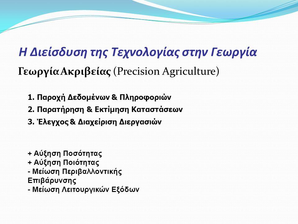 Η Διείσδυση της Τεχνολογίας στην Γεωργία Γεωργία Ακριβείας (Precision Agriculture) 1. Παροχή Δεδομένων & Πληροφοριών 2. Παρατήρηση & Εκτίμηση Καταστάσ