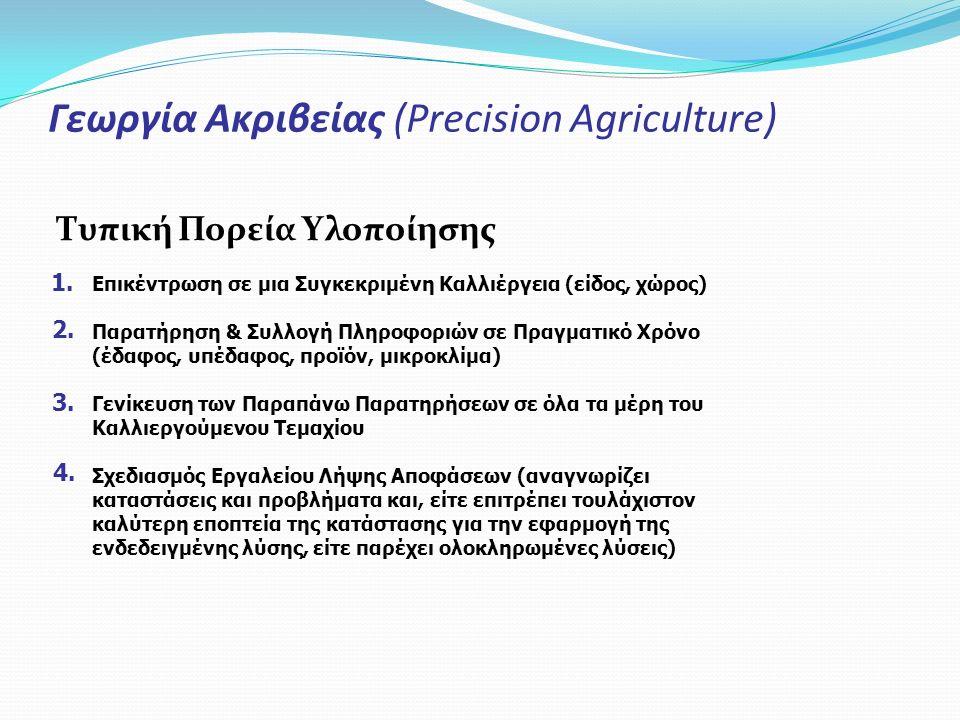 Γεωργία Ακριβείας (Precision Agriculture) Τυπική Πορεία Υλοποίησης Επικέντρωση σε μια Συγκεκριμένη Καλλιέργεια (είδος, χώρος) Παρατήρηση & Συλλογή Πλη