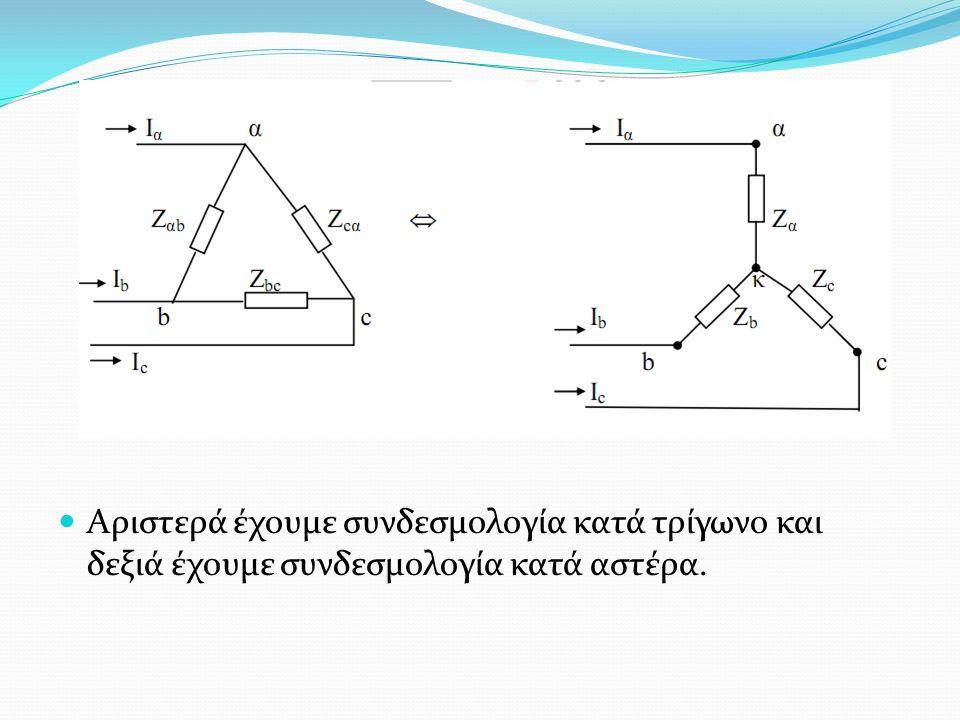 Αριστερά έχουμε συνδεσμολογία κατά τρίγωνο και δεξιά έχουμε συνδεσμολογία κατά αστέρα.