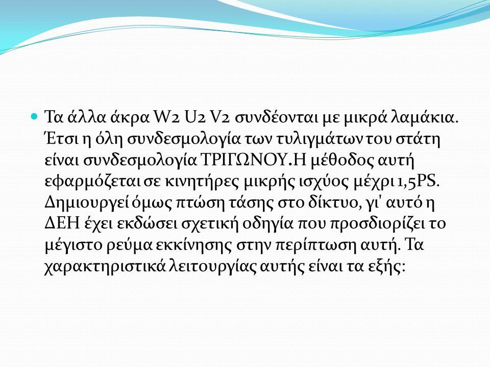 Τα άλλα άκρα W2 U2 V2 συνδέονται με μικρά λαμάκια. Έτσι η όλη συνδεσμολογία των τυλιγμάτων του στάτη είναι συνδεσμολογία ΤΡΙΓΩΝΟΥ.Η μέθοδος αυτή εφαρμ