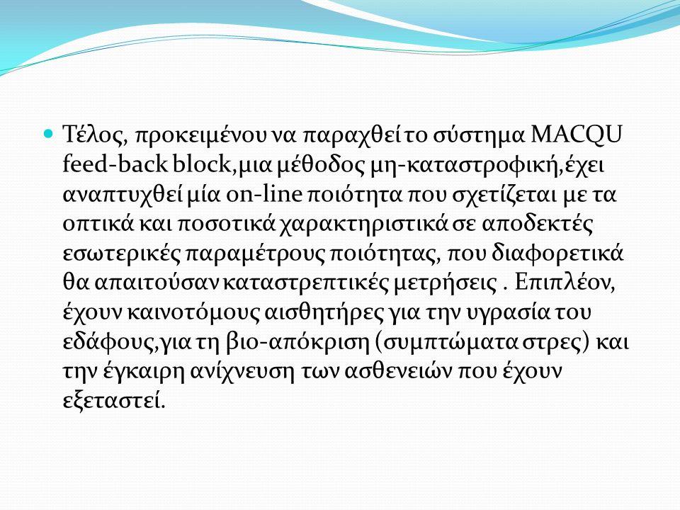 Τέλος, προκειμένου να παραχθεί το σύστημα MACQU feed-back block,μια μέθοδος μη-καταστροφική,έχει αναπτυχθεί μία on-line ποιότητα που σχετίζεται με τα
