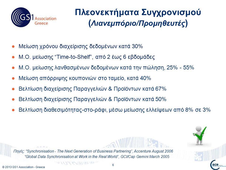 © 2013 GS1 Association - Greece ●Μείωση χρόνου διαχείρισης δεδομένων κατά 30% ●Μ.Ο.
