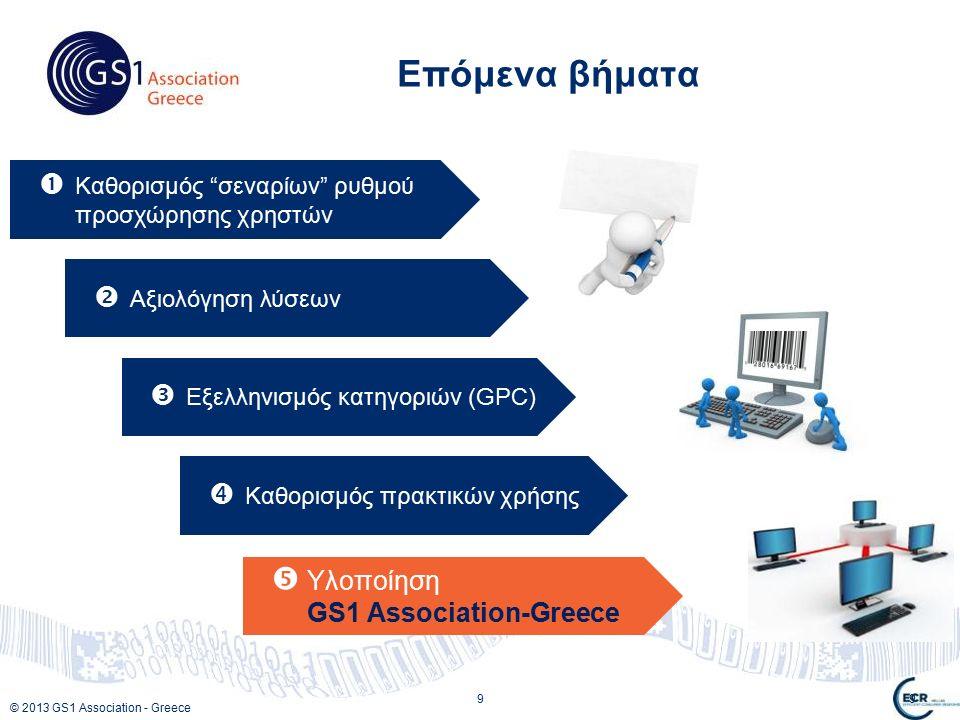 © 2013 GS1 Association - Greece 9 Επόμενα βήματα 9  Καθορισμός σεναρίων ρυθμού προσχώρησης χρηστών  Αξιολόγηση λύσεων  Εξελληνισμός κατηγοριών (GPC)  Καθορισμός πρακτικών χρήσης  Υλοποίηση GS1 Association-Greece
