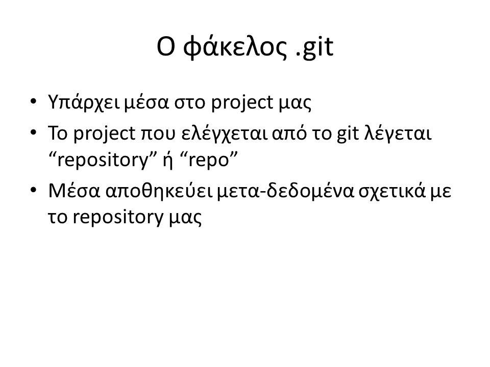 Ο φάκελος.git Υπάρχει μέσα στο project μας Το project που ελέγχεται από το git λέγεται repository ή repo Μέσα αποθηκεύει μετα-δεδομένα σχετικά με το repository μας