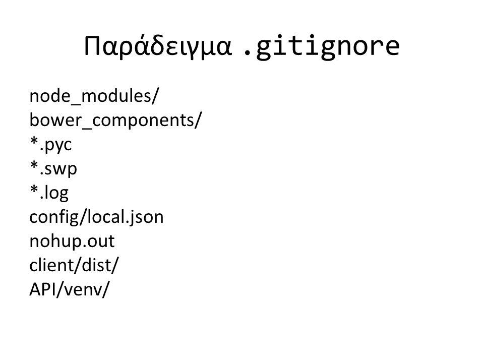 Παράδειγμα.gitignore node_modules/ bower_components/ *.pyc *.swp *.log config/local.json nohup.out client/dist/ API/venv/
