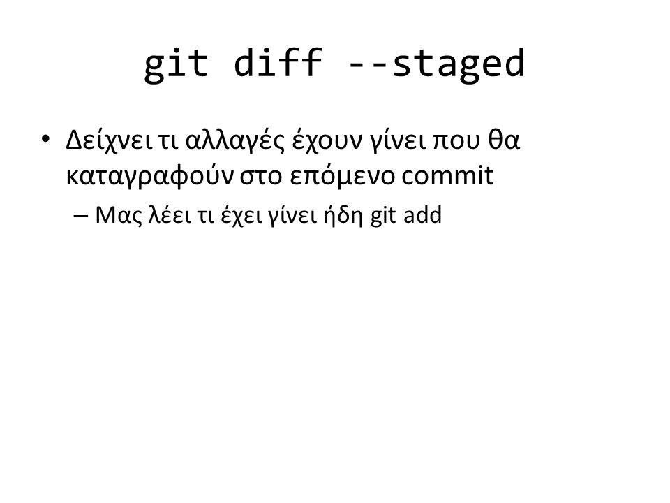 git diff --staged Δείχνει τι αλλαγές έχουν γίνει που θα καταγραφούν στο επόμενο commit – Μας λέει τι έχει γίνει ήδη git add
