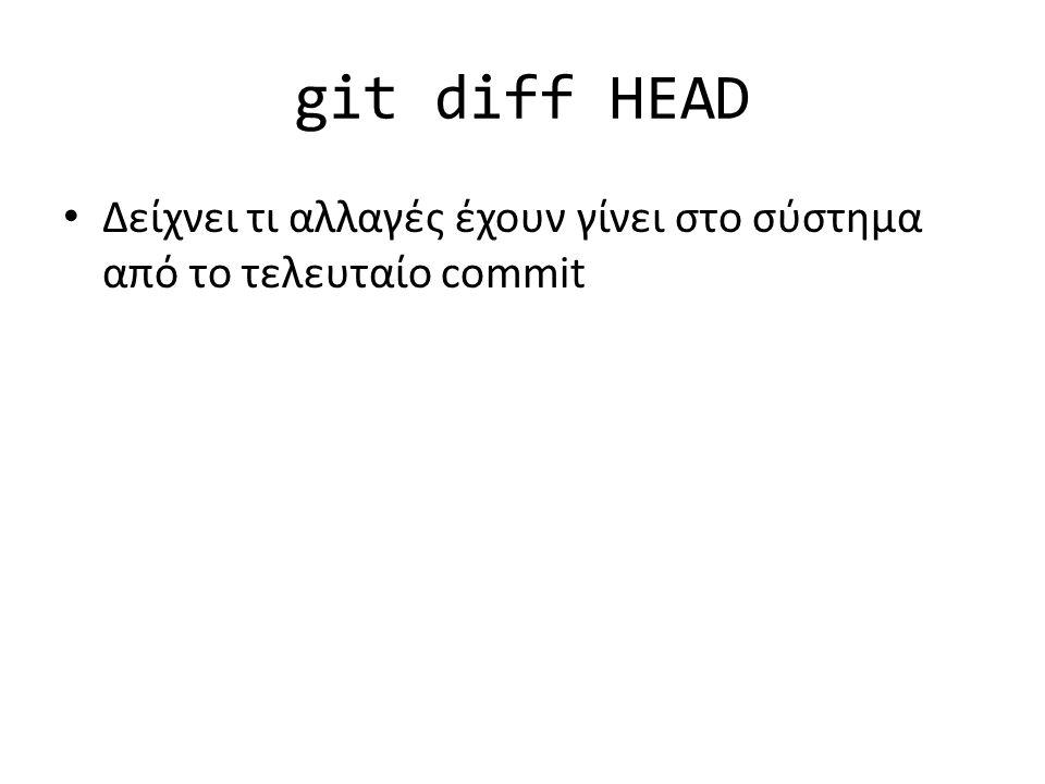 git diff HEAD Δείχνει τι αλλαγές έχουν γίνει στο σύστημα από το τελευταίο commit