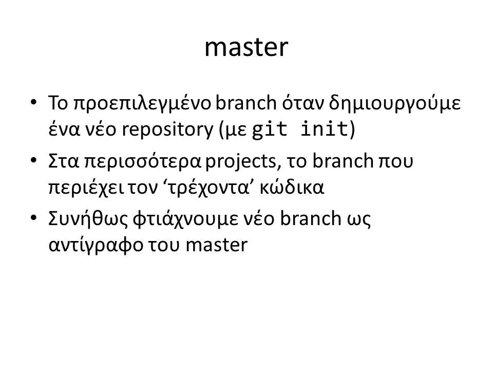 master Το προεπιλεγμένο branch όταν δημιουργούμε ένα νέο repository (με git init ) Στα περισσότερα projects, το branch που περιέχει τον 'τρέχοντα' κώδικα Συνήθως φτιάχνουμε νέο branch ως αντίγραφο του master