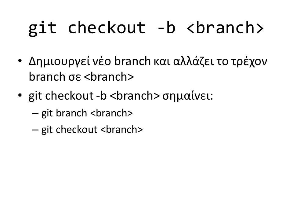 git checkout -b Δημιουργεί νέο branch και αλλάζει το τρέχον branch σε git checkout -b σημαίνει: – git branch – git checkout