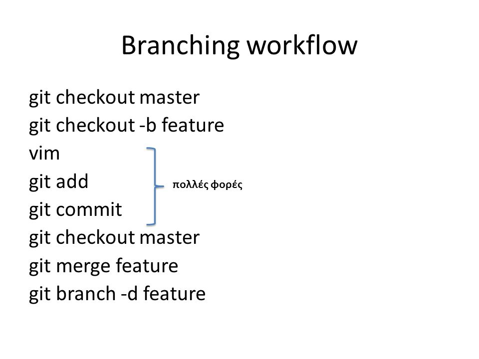 Branching workflow git checkout master git checkout -b feature vim git add git commit git checkout master git merge feature git branch -d feature πολλές φορές