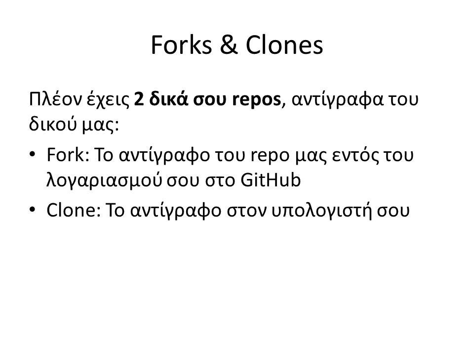 Forks & Clones Πλέον έχεις 2 δικά σου repos, αντίγραφα του δικού μας: Fork: Το αντίγραφο του repo μας εντός του λογαριασμού σου στο GitHub Clone: Το αντίγραφο στον υπολογιστή σου