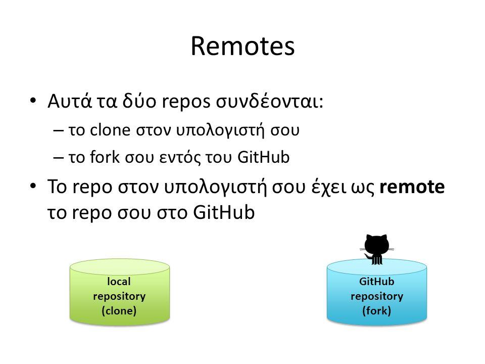 Remotes Αυτά τα δύο repos συνδέονται: – το clone στον υπολογιστή σου – το fork σου εντός του GitHub Το repo στον υπολογιστή σου έχει ως remote το repo σου στο GitHub local repository (clone) local repository (clone) GitHub repository (fork) GitHub repository (fork)