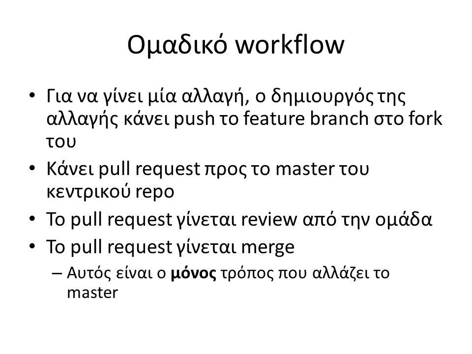 Ομαδικό workflow Για να γίνει μία αλλαγή, ο δημιουργός της αλλαγής κάνει push το feature branch στο fork του Κάνει pull request προς το master του κεν