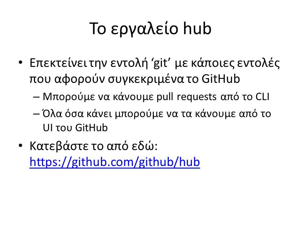 Το εργαλείο hub Επεκτείνει την εντολή 'git' με κάποιες εντολές που αφορούν συγκεκριμένα το GitHub – Μπορούμε να κάνουμε pull requests από το CLI – Όλα