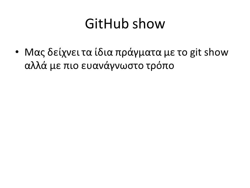 GitHub show Μας δείχνει τα ίδια πράγματα με το git show αλλά με πιο ευανάγνωστο τρόπο