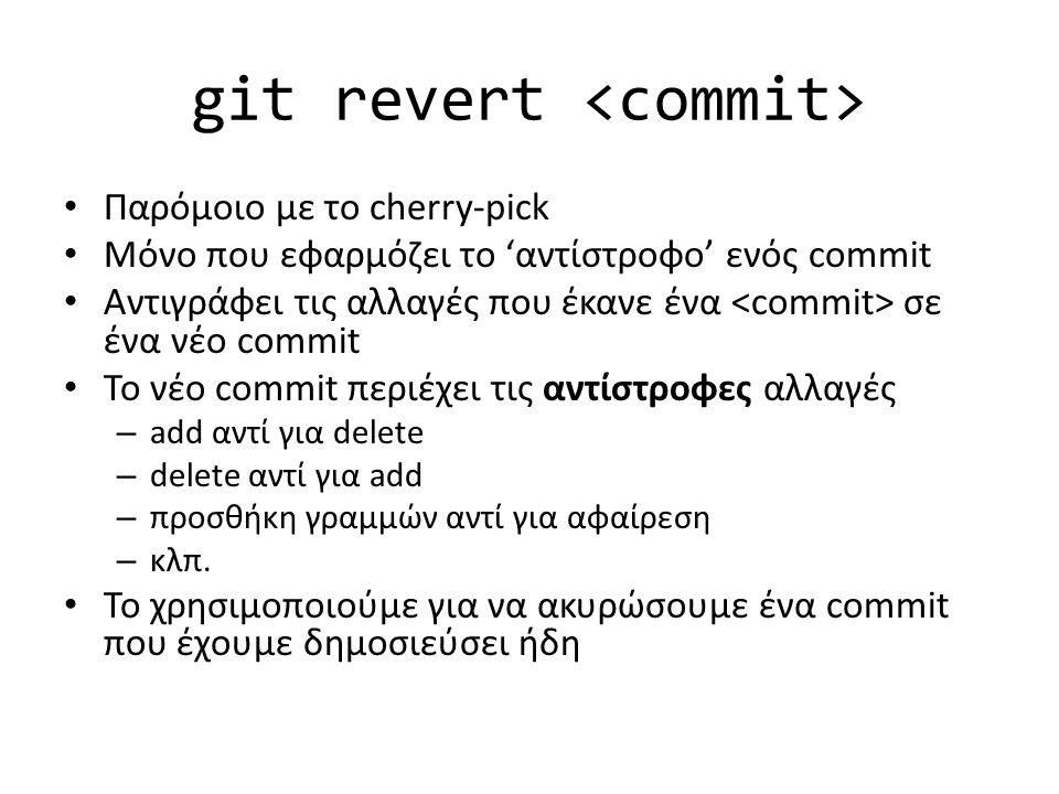 git revert Παρόμοιο με το cherry-pick Μόνο που εφαρμόζει το 'αντίστροφο' ενός commit Αντιγράφει τις αλλαγές που έκανε ένα σε ένα νέο commit Το νέο com