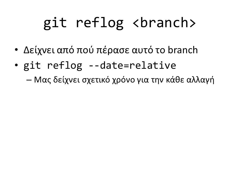 git reflog Δείχνει από πού πέρασε αυτό το branch git reflog --date=relative – Μας δείχνει σχετικό χρόνο για την κάθε αλλαγή