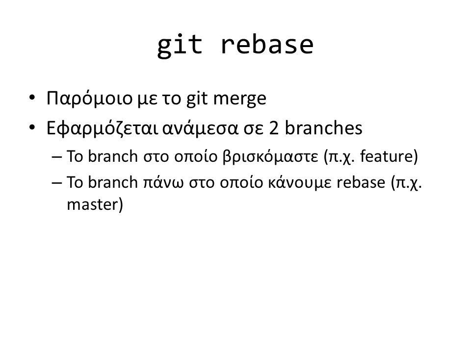 git rebase Παρόμοιο με το git merge Εφαρμόζεται ανάμεσα σε 2 branches – Το branch στο οποίο βρισκόμαστε (π.χ. feature) – Το branch πάνω στο οποίο κάνο
