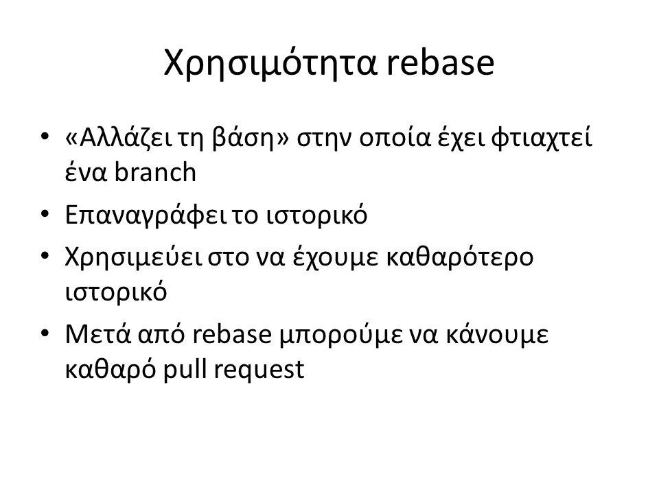 Χρησιμότητα rebase «Αλλάζει τη βάση» στην οποία έχει φτιαχτεί ένα branch Επαναγράφει το ιστορικό Χρησιμεύει στο να έχουμε καθαρότερο ιστορικό Μετά από